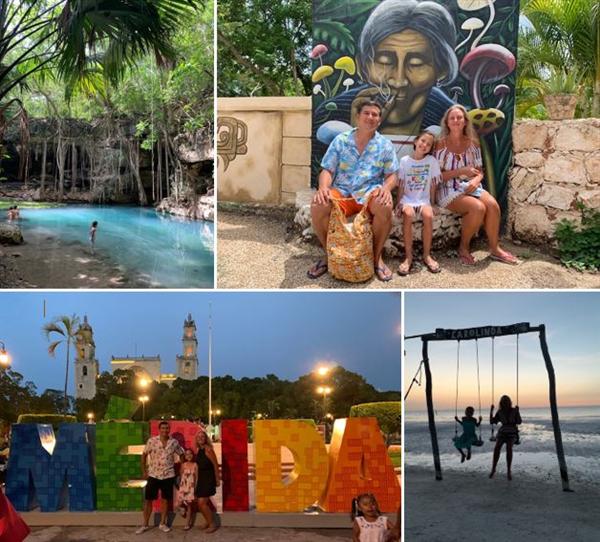 famille en vacances au Mexique