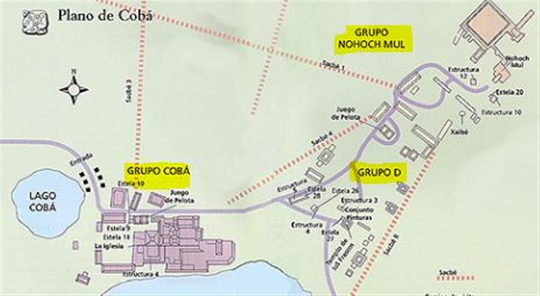 plan du site de Coba et des différents groupes