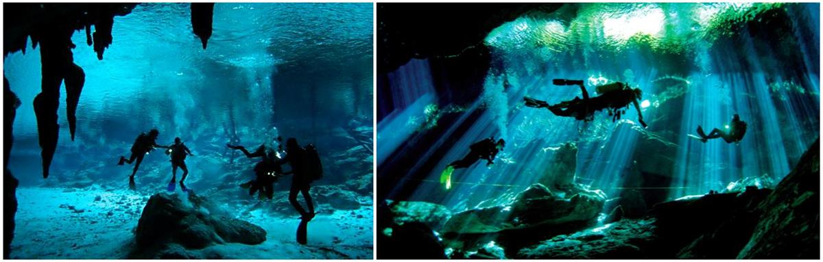plongeurs en bouteilles explorant les cavernes souterraines du cenote dos ojos