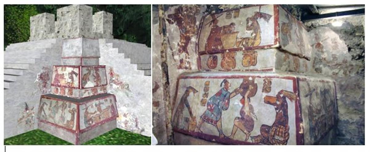 interieur de la pyramide de calakmul