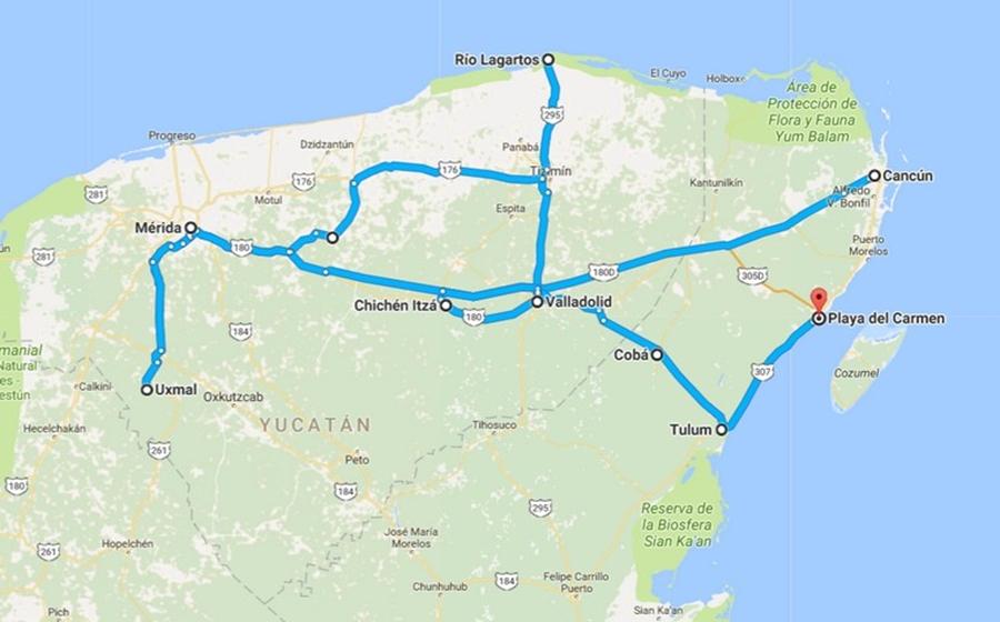 itineraire du circuit au mexique avec guide francophone
