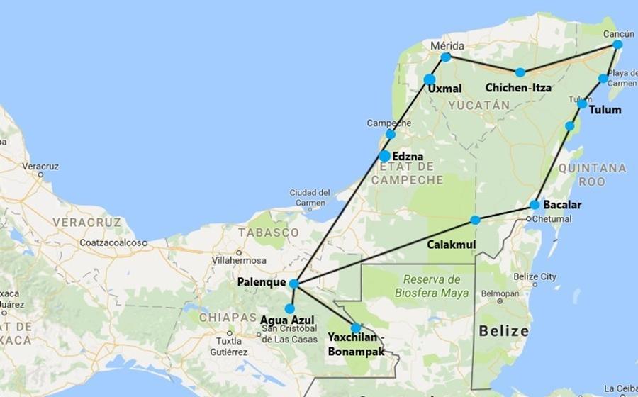 itinéraire de l'autotour au mexique combiné yucatan et chiapas