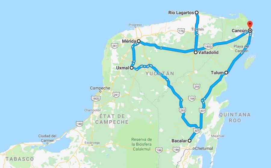 detail de l'itinéraire de l'autotour au Mexique par bacalar et bolbox