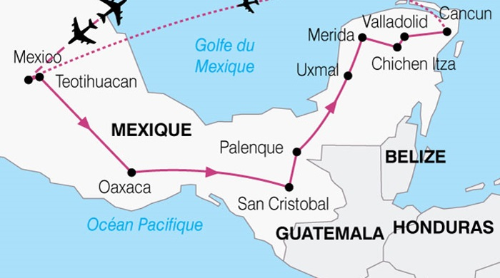 carte de mexico a guanajuato en passant par san miguel de allende