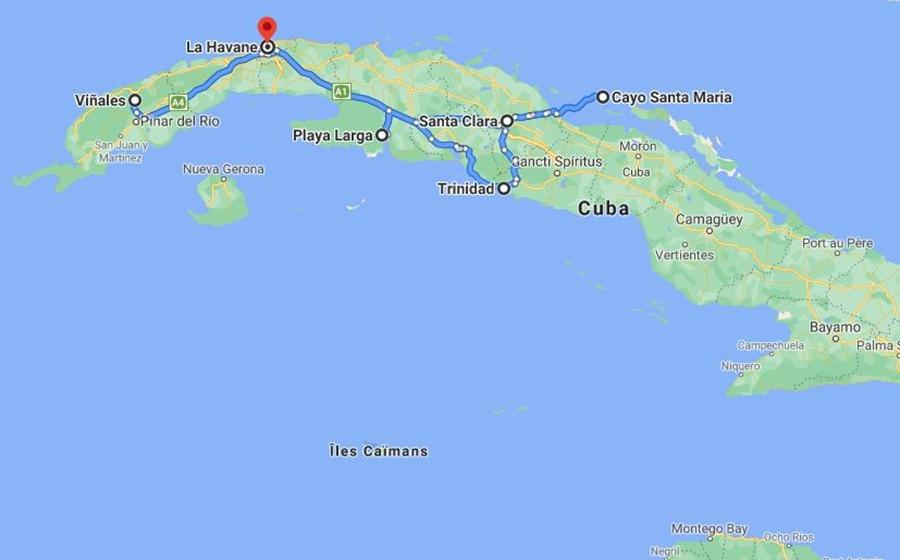 itinéraire du voyage familial a cuba