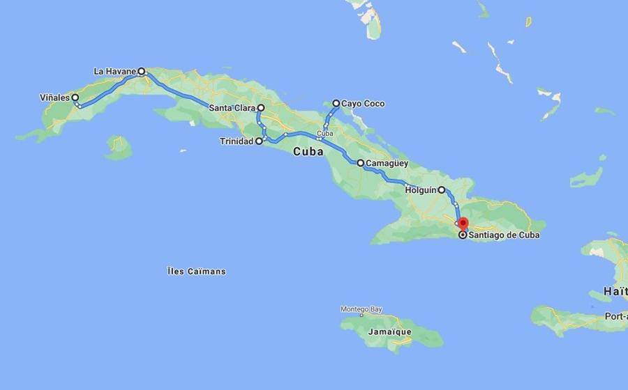 carte du voyage sur mesure a cuba de La Havane a Santiago