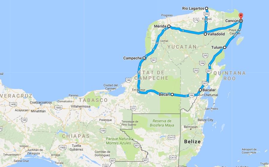 carte et detail de l'autotour de mexico au yucatan