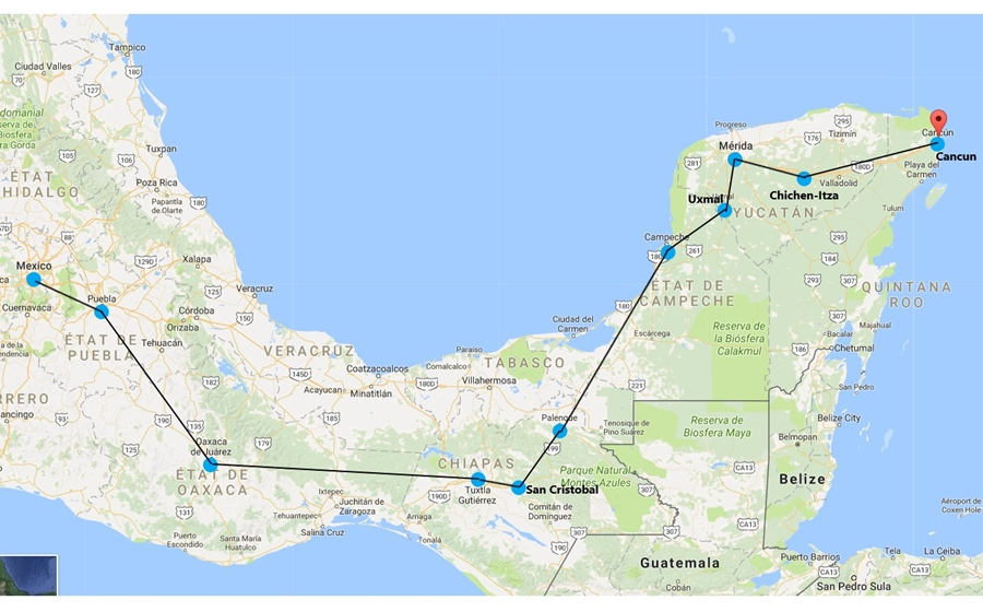 itinéraire sur carte du voyage au mexique