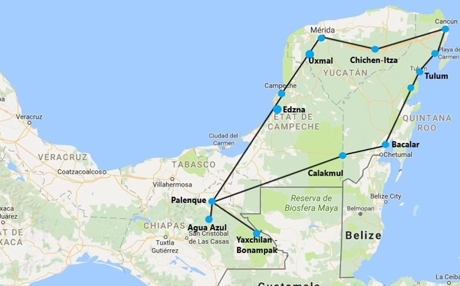 la carte du circuit au mexique par le yucatan et le chiapas